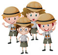 Four kids in safari outfit