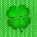 Four leaf clover on green polka dot background Royalty Free Stock Photo