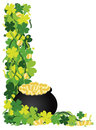 Four Leaf Clover Pot of Gold Border Illustration Royalty Free Stock Photo