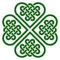 Four-leaf clover shaped knot made of Celtic heart shape knots