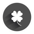 Four leaf clover vector icon. Clover silhouette simple icon illu