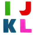 Four letters written in multicolored plastic kids letters Royalty Free Stock Photography