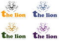 Four lion king head logos illustration of heads all sketched with caption the in yellow green and purple colors on white Stock Photography