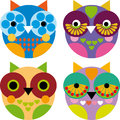 Four little funny owl on white background