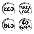 Four logo with inscription bio, natural, go green, eco.