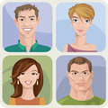 Four male and female portraits vector style Royalty Free Stock Images