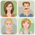Four male and female portraits vector style Stock Photo