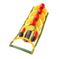 Four man bobsleigh fruits and vegetables in the shape of a team in a gravity powered sled Stock Image