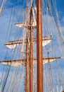 Four masts and many ropes Royalty Free Stock Photography