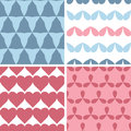 Four matching bold shapes seamless patterns background set vector Royalty Free Stock Photography