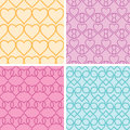 Four matching heart motives seamless patterns background set vector Stock Image