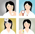 Four medical icons with a young doctor Royalty Free Stock Image