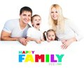 Four members family near the white banner Stock Photography