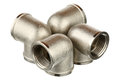 Four metallic fittings isolated over white background Stock Photo