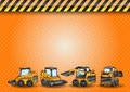 Four mini excavator small excavators on the construction background Stock Photo