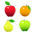 Four miscellaneous fruits apples orange and pear Stock Image