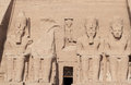 The four monumental colossi of Ramesses II at Abu Simbel Royalty Free Stock Photo