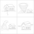 Four natural phenomena destroying homes. Katastrofa.Tornado. Tsunami. Earthquake. Hurricane winds.