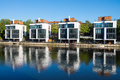 Four new houses at the waterside in hamburg germany Royalty Free Stock Images