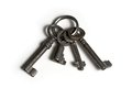 Four old keys on keyring Royalty Free Stock Photo