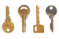 Four old metal keys. Royalty Free Stock Photos