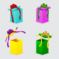 Four open gift boxes and bows with lids Royalty Free Stock Image