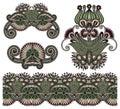 Four ornamental floral adornment decorative vintage vector illustration Royalty Free Stock Photo