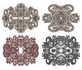 Four ornamental floral adornment hand draw Stock Image