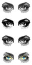 Four pairs of eyes illustration painted and isolated on white Stock Images