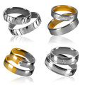 Four pairs of rings isolated golden and silver wedding decorated with diamonds Royalty Free Stock Photo