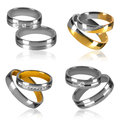 Four pairs of rings isolated golden and silver wedding decorated with diamonds Stock Image