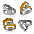 Four pairs of rings isolated golden and silver wedding decorated with diamonds Stock Photo