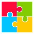 Four part puzzle diagram blank Stock Images