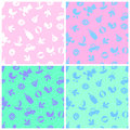 Four pattern with baby supplies and toys seamless textures children s accessories Stock Photography