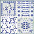 Four patterns for pillow or for tile Stock Photo