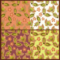 Four patterns summer plant with decorative elements Stock Image