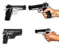 Four photos of pistolet on wihte background Royalty Free Stock Image