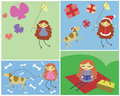 Four pictures of girl s activities catching butterflies christ christmas dress and dog walking the dog and having a picnic Royalty Free Stock Photos