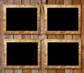 Four placards of black in decorative scopes on a wooden background Royalty Free Stock Image