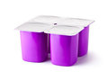 Four plastic containers for dairy products Stock Photos