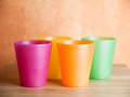 Four plastic cups Royalty Free Stock Photo