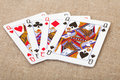Four playing cards - queens on canvas Royalty Free Stock Photo