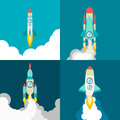 Four poster of rocket ship in a flat style. Space travel to the cosmos. Project start up and development process Royalty Free Stock Photo
