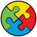Four puzzles. Vector symbol