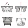 Four realistic metallic chrome wire empty baskets of different shapes. Vector illustration Royalty Free Stock Photo