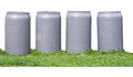 Four recycle bins with the grass on white background Stock Photography