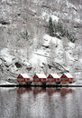 Four red houses in Norway Stock Photography