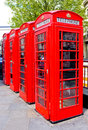 Four Red Phone Boxes London, England Stock Image