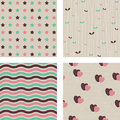 Four retro patterns Royalty Free Stock Photo