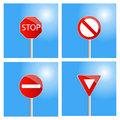 Four road signs Stock Images
